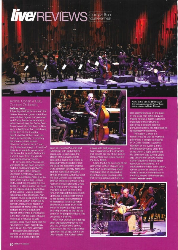 Jazzwise April 2017 Avishai Cohen Barbican review