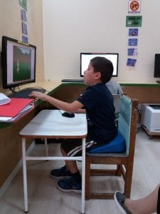 child using and learning on terminal